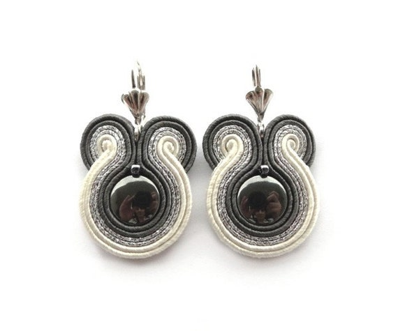 Bridal earrings, Fall Wedding, silver, grey, ecru, hematite, soutache earrings - HOLIDAY SALE