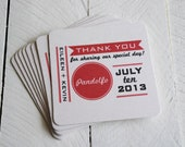 Personalized- Custom Coasters -Wedding Favors-Invites-Save the Dates- Set of 8 Eco-Friendly