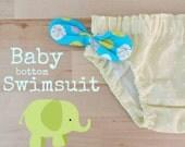 Baby girl Swimsuit , Yellow polka dots swimsuit, bottom swimwear for babies