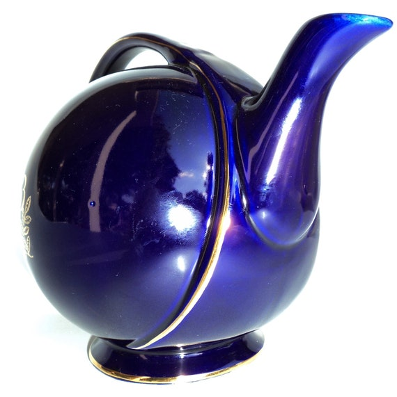 colbalt blue hall teapot gold trim flower art deco modern