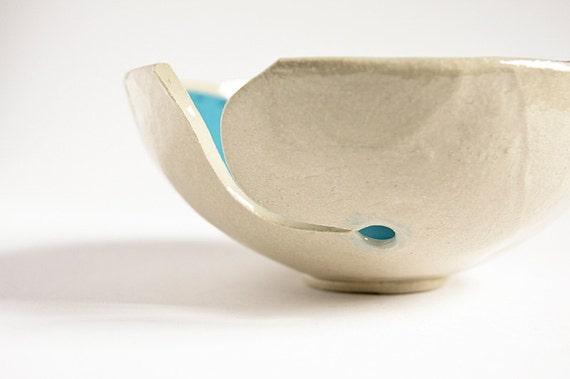 yarn bowl, gift for knitter, modern minimalist ceramic knitting bowl, cornflower blue, handmade Irish pottery by karoArt