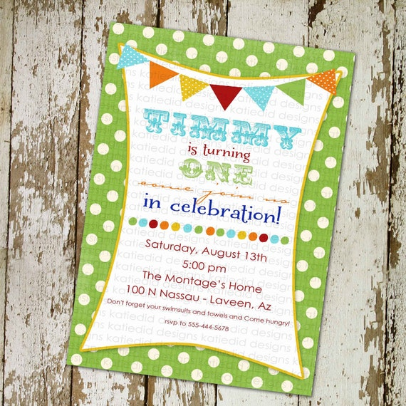 1st birthday party invitations with banner and fun fonts, digital, printable (item 229)