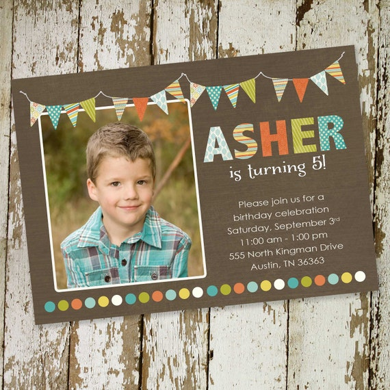 little boy 1st birthday invitation sonogram pregnancy announcement bunting banner kraft paper rustic chic new baby photo 205 Katiedid Cards