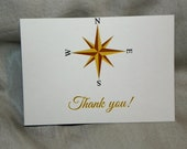 Nautical Blue and Gold Thank You Cards,