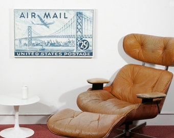 San Francisco Skyline - 20x33 inch Canvas of Enlarged Airmail Postage Stamp from 1947