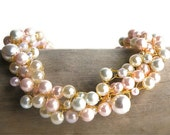 Beige and Pink Pearl Crochet Gold Wire Necklace Set with Matching Pearl Earrings/ Brides Necklace/ Bridesmaids Gift