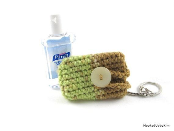 Crochet Hand Sanitizer Cozy - Mint and Tan Ombre