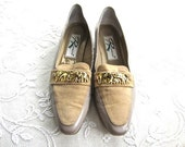 Vintage Tan Suede and Leather Elephant Loafers, Women's Size 9N