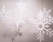 Shimmer Cut Paper Snowflakes - winter wedding decoration, scrapbooking, holiday, christmas ornament