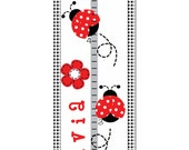 Personalized Growth Chart Children Polka Dot Mod Lady Bug Canvas Growth Chart  Kids