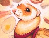 The Littlest Carnivore, Original Ferret Art