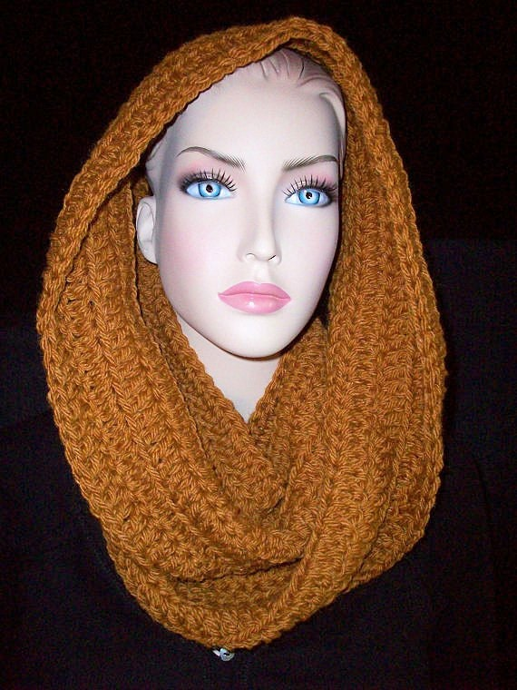 Custom for Ashley  Chunky Infinity Circle Scarf Brown Ready to ship