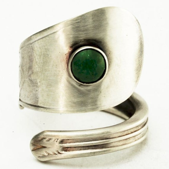Sterling Spoon Ring with Green Aventurine Gemstone in Sterling Silver, Handcrafted in your Size (2698)