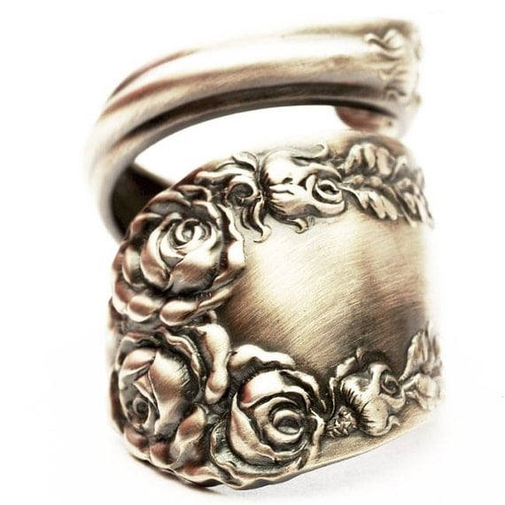 Spoon Ring Vintage Victorian Rose Sterling Silver Ring