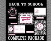 Back to School Complete DIY Package - Zebra and Pink