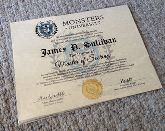 Monsters Inc. Monsters University Customizable Diploma --- PARCHMENT PAPER