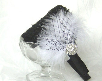 Wedding hair fascinator feather headband black and white feather fascinator