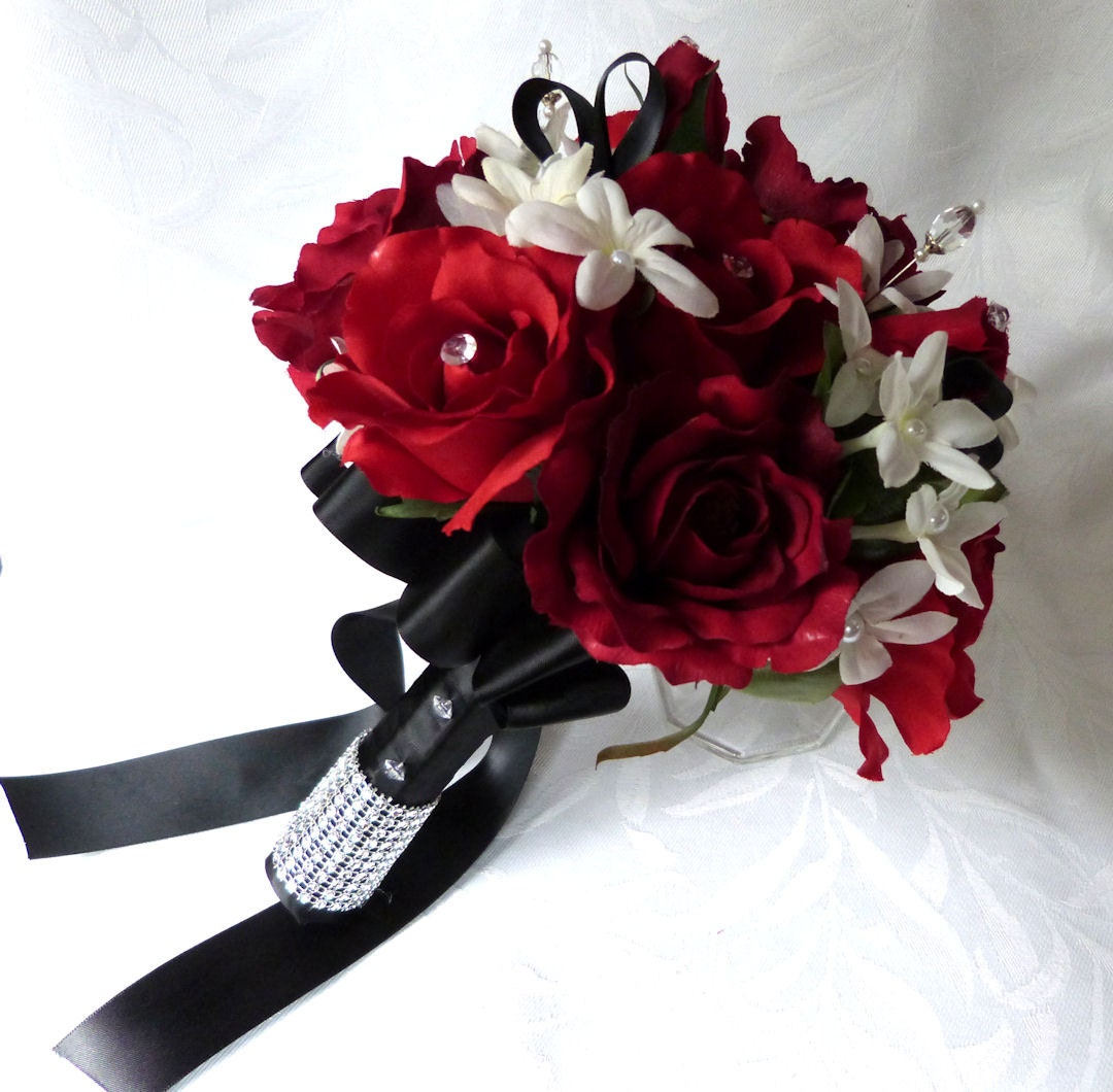 White And Red Wedding Flowers: Reserved Bridal Bouquet In Red White Black Wedding Bouquet And
