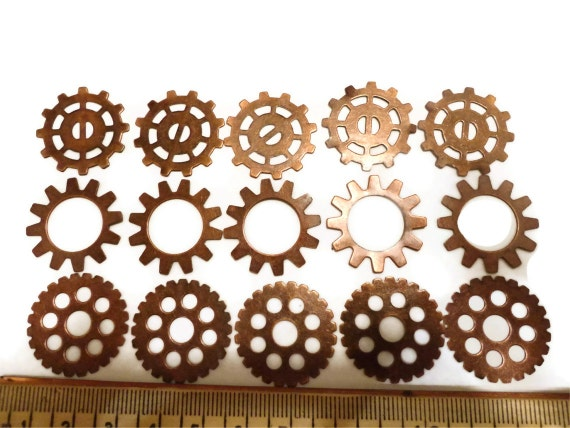 Steampunk Gears Cogs Wheels Discs Assemblage Altered Art Lot Copper Large 25mm- Qty 15
