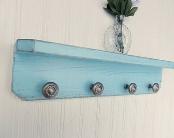 Wooden Wall Shelf with 4 Knobs, Shabby Chic / French Country-Turquoise Blue