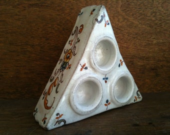 Antique Dutch ceramic triple triangle ink well bowl scribe writer quill circa 1700-1800's / English Shop