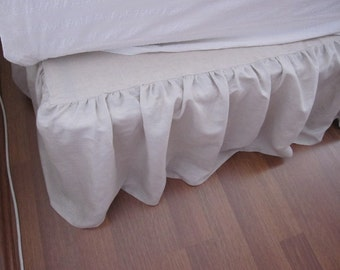clearance sale Linen bedskirt, Twin XL Queen/ King linen Dust ruffle 14 18 inch drop Bed skirt solid ivory brown oatmeal shabby chic bedding