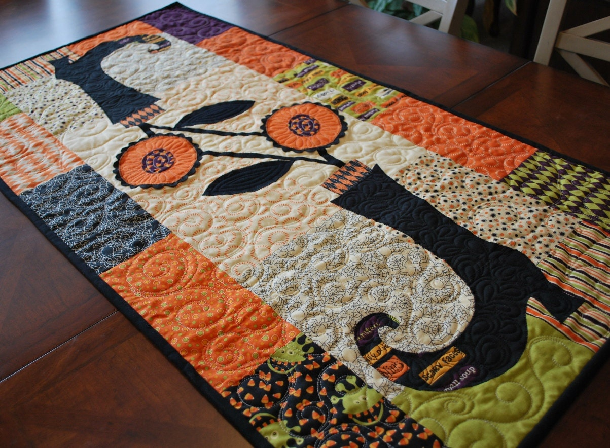 Last One Halloween Blooming Boots Table Runner Quilt Kit