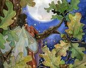 Autumn Moon-8 x 10 inch fine art print , seasonal fall/ autumn fairy fantasy illustration