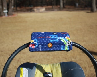 Basketball theme Soft Flannel Infant Car Seat Handle with velcro closure