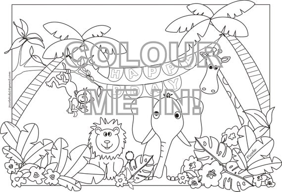 coloring pages jungle scenes - photo#40