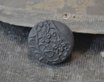 goth brooch pin - black vintage lace imprint brooch - clay flower print black brooch pin - black textured brooch - gift for her