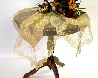 Table Runner, spring Princely decoration, rich and superior in quality, golden beige with French Lace and Swarovski crystals