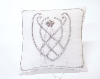 Wedding Ring pillow White Velvet medieval motif Silver cord  and rhinestone crown decorative throw cushion silver gothic fairy wedding ring