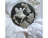 Wedding Accessory, Vintage Hand Mirror, Fantasy Art Mirror, Wedding Photo Prop, Bride Bridesmaid  Maid Of Honor Gift, Alternative Bouquet