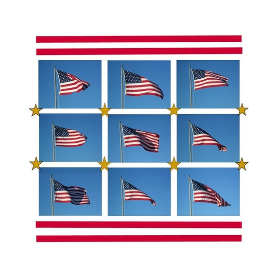 American Flag Pop Art, Stars And Stripes Forever, 10 x 10, Modern Graphic Pop Art Americana, The Maine View