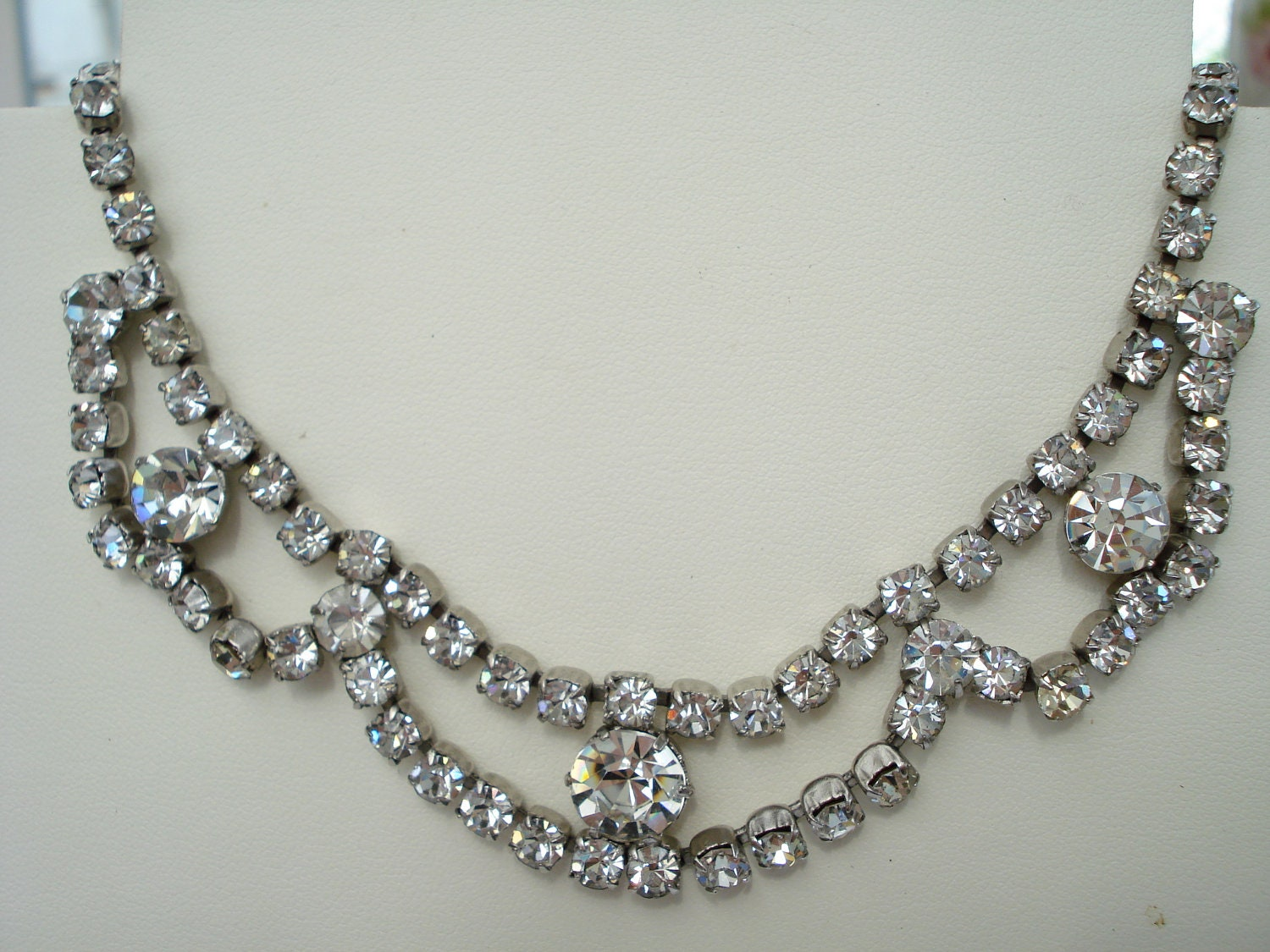 Rhinestone Necklace. Rhinestone jewelry is an affordable option when you want pieces to match particular outfits without spending a fortune on more expensive items. A rhinestone necklace can last a long time when it's properly cared for.