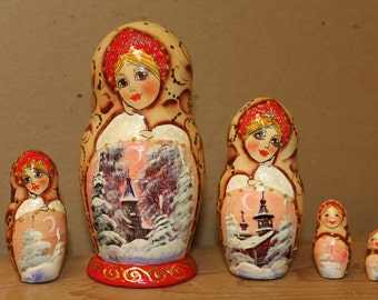 Winter Scene Nesting Doll  Matryoshka doll set of 5