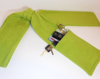 Zipper Pocket Fleece Scarf for Men and Women in Citron Green with or without fringe