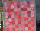 Modern Pink and grey snowball throw / lap quilt