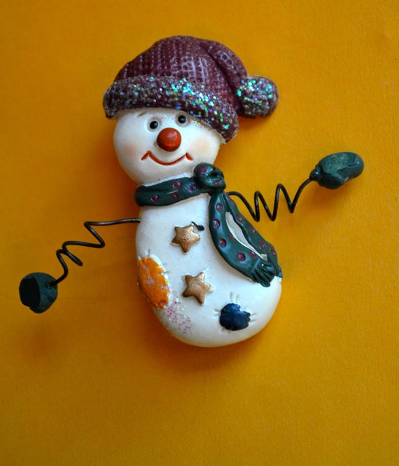 Christmas Snow Man Brooch, Celluloid, Multicolor, In Mint Condition