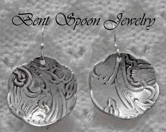 Vintage Silver Embossed Earrings, Sterling Silver Earwires, SALE