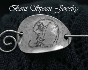 Spoon Shawl Pin, Personalized,  Monogrammed Floral Initial,  Recycled , Spoon Shawl Pin..Custom Engraving