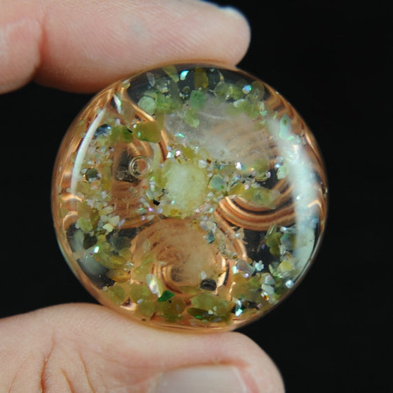 Orgonite Style Pocket Size Orgone Positive Energy Generator with Tibetan Crystal, Jade, Rhodizite and Heddeka (164)