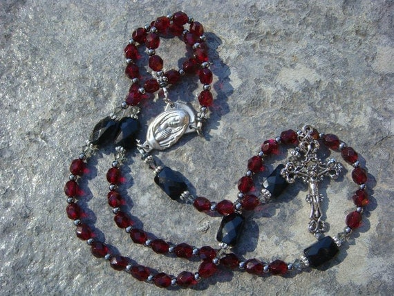 RESERVED for Addi - Catholic Rosary - Garnet Red Czech Glass with Black Faceted Rectangle Beads
