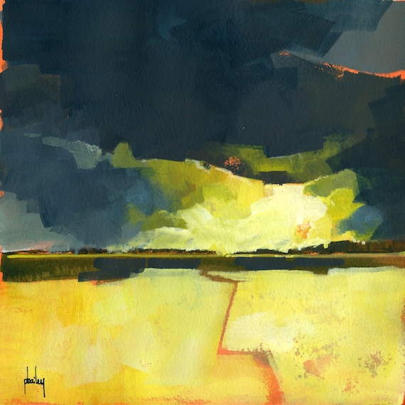 Breaking through - original acrylic semi-abstract landscape painting