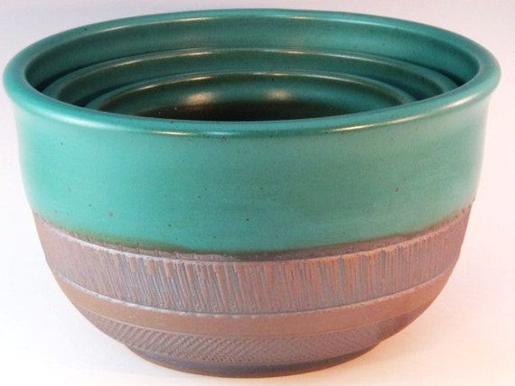 Green Three Piece Bowl Set With Texturing on the Bottom...RESERVED FOR DANIELLE