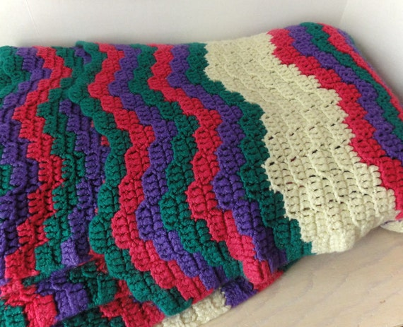 RESERVED-  Chevron Patterned Afghan- Large Twin size