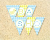 Printable Baby Shower Banner, Ducky Day, Rubber Ducky party, 1st birthday party, Pennant banner, Instant Download, Baby shower decoration