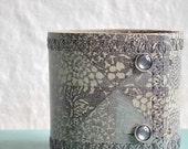 Japanese Inspired Printed Leather Cuff Denim Blue Bracelet Collage Adjustable Wide