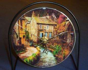 Beautiful Village  Recycled CD Clock Art